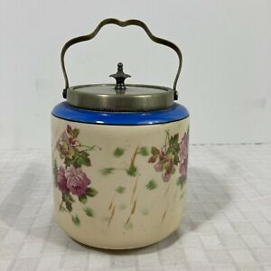 Biscuit Barrel Jar L & S Sons LTD Hanley England Antique Lid EPNS
