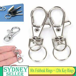 200PCS Swivel Lobster Clasp Clips Hook Alloy Key Ring Split Durable Keychain DIY