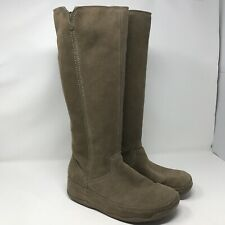FitFlop Women's 8 Tall Suede Leather Superboot Knee High Boots Wobble Board