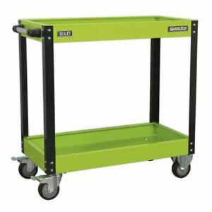 Sealey CX109HV Workshop Trolley 2-Level Heavy-Duty - Hi-Vis Green
