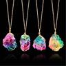 Rainbow Stone Natural Crystal Chakra Rock Chain Quartz Pendant Necklace Charm UK
