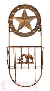 Western Rustic Mail Metal Key Hook Letter Holder Praying Cowboy Star Copper