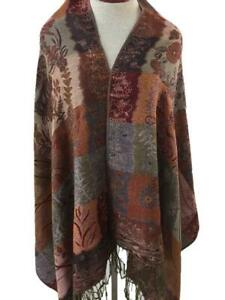 Pashmina style scarf shawl 78 x 28 with fringe brown red floral head cover
