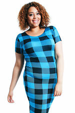 Round Neck Plus Size Check Midi Dresses for Women