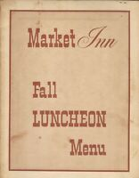 Vintage MARKET INN Restaurant Menu, Washington DC 1965