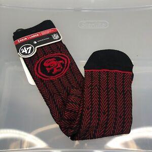SF 49ers Socks '47 Brand Large Red Men's 9-13 Women's 10-12. NFL Football
