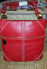 New Brighton Trendoro Leather Messenger Shoulder Handbag NWT Red