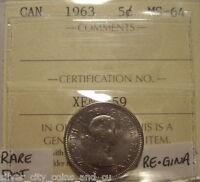 Scarce Elizabeth II 1963 DOT Variety Five Cents - ICCS MS-64 (XEN 659)