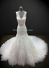 Wedding Dress Mermaid Trumpet Beaded Lace with Tulle Skirt Lazaro Replica