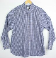 Robert Talbott Estate 18 46 Blue White Plaid Check Oxford Button Up Dress Shirt