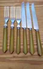 6 Pc Vintage Olive Green Bakelite Stainless Steel Flatware 3 Forks 3 Knives