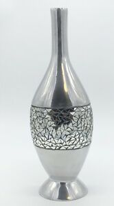 Pier 1 Tall Decorative Pewter? Metal Flower Vase w Mosaic Mirror Cracked Glass