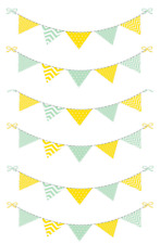 Yellow And Green Bunting Cake Topper Edible Wafer Paper A4 Sheet