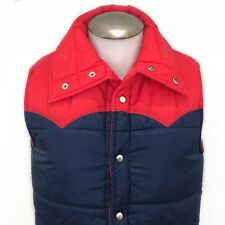 Nylon Mens Small Puffer Vest Vintage 80s Snap Button Color Block