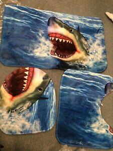 3PC Ocean SHARK Carpet Bathroom Non-Slip Floor Rug Toilet Cover Bath Mat