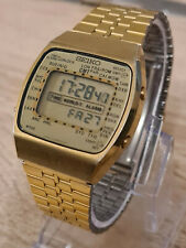VINTAGE DIGITAL LCD WATCH SEIKO 1984 A718-5030 WORLTIMER WORKS LOVELY