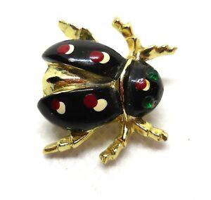 """Vintage Black Beetle Brooch With Green Rhinestone Eyes  3/4"""" Pin"""