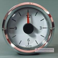 VDO orologio quarzo-orologio clock macchina + Marine 12v Quadrante Bianco anello Cromo