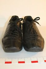 PRADA UK Sz 7 Vintage Red Stripe Black Lace Up Leather Sneakers Made in Italy