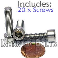 M6 x 25mm – Qty 20 – DIN 912 SOCKET HEAD Cap Screws - Stainless Steel A2 / 18-8