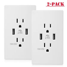 2 Pack Dual USB Wall Outlet Charger Port Socket with 15A Electrical Receptacles
