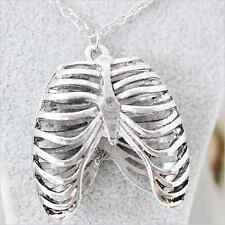 Ribcage rib silver anatomy statement pendant necklace vintage hippy boho punk