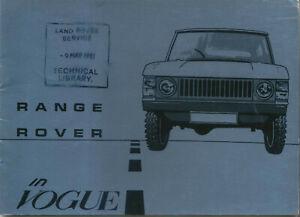 Range Rover in Vogue Original Handbook SUPPLEMENT No. AKM 8137 Ed. 2