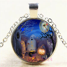 Halloween Ghost Cabochon Tibetan silver Glass Chain Pendant Necklace #7575
