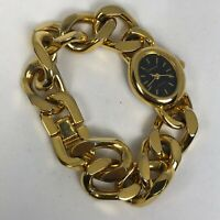 Cenere Womens Chain Gold Tone Bracelet Oval Dial Quartz Analog Watch