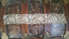 Antique Silver Metallic 2 1/2 In Wide Roses Pattern Insertion Trim 19 In Long