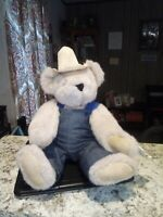 "THE VERMONT TEDDY BEAR COMPANY 18"" Jointed Farmer Teddy Bear 1993 New With Tags"