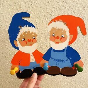 ✅ 1960er Holz-Garderobe VINTAGE Zwerge 20x23x4cm Kinderzimmer Deko Rot Blau ALT