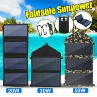 20-50W Folding Solar Panel USB Battery Charger Power Bank Outdoor Camping Hiking