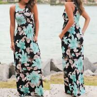Womens Holiday Long Dress Ladies Summer Party Floral Maxi Dress Plus Size S-5XL