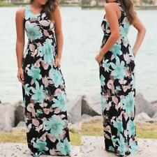 Womens Casual Boho Long Dress Ladies Summer Party Floral Maxi Dress Size S-5XL