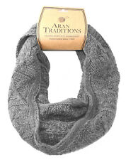 Aran Traditions Womans Ladies Men Winter Warm Knitted Style Steel Grey Snood