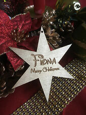 Personalised Christmas Tree Bauble; Gift Tag; star gold painted; Disney font
