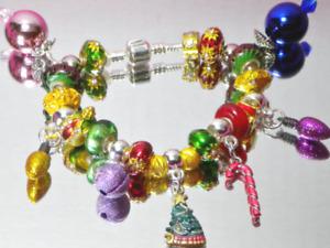 Trim a tree European hand painted charms Murano bead Christmas bracelet colorful