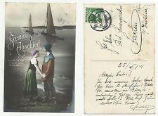 84675 antica cartolina  spedita da svizzera seemann abschied marinaio addio