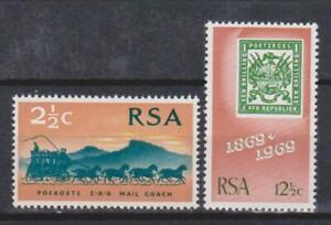 RSA SOUTH AFRICA 1969 Postage Stamp Centenary/Coach SG 297/98 MNH STAMP ON STAMP