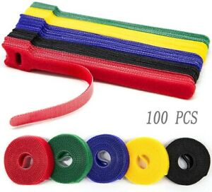 "100PCS 6"" Reusable Cable Ties,Hook Loop for Managing Wires Cord Assorted Color"