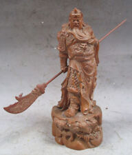 "5.7"" Old Chinese Boxwood Wood Warrior God Guan Gong (Guan Yu) Statue"