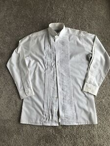 Mens 37 PARAMOUNT white pintuck front Luxury Tuxedo Formal Shirt