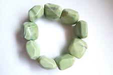 Natural Light Green Butter Jade Large Chunky Stretch Bracelet