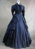 Dark Gothic Victorian Dress Ball Gown Steampunk Reenactment Clothing NAVY 007