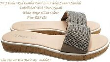 💙 Next Women Leather Strap Crystal Low Wedge Sandals Flip Flops Shoes Flats New