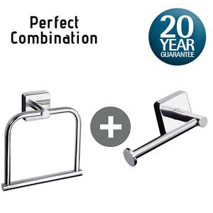Toilet Roll Holder & Towel Ring Set, Self Adhesive/Screws Stainless Steel Square