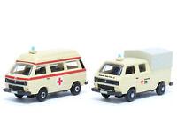 Lemke LC4332 - PKW Set VW T3 DRK Bus + DoKa Plane 2-teilig - Spur N - NEU