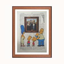 The Simpsons vs  Grant Wood - American Gothic  - dictionary art print home GIFT