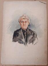 Superbe Rare Aquarelle Ancienne Portrait Femme vers 1920 Refet Başokçu Turquie